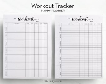 Workout Tracker, Workout Planner, Happy Planner, Fitness Planner, Workout Log, MAMBI, Health Planner, Printable Planner, Mambi planner