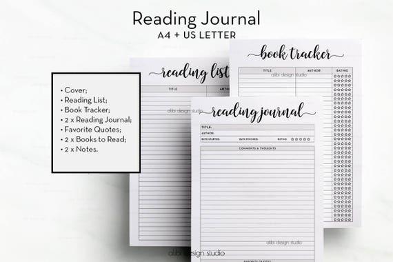 reading journal book tracker reading list books printable book organizer a4 printable book journal book planner reading planner - Printable Picture Books