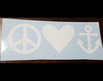 Peace Love Anchor Vinyl Decal