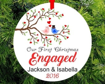 Our First Christmas Engaged |  Lovebird Tree Ornament | Personalized Engagement Gift | First Christmas Ornament | Couples Gift - CO-LBM-1