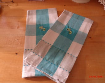 Easter Tea Towels. embroidered tea towels, Kitchen towel set, Spring Tea towels
