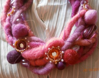 PINK FELT 5 felt Necklace strands in shades of lilac rose