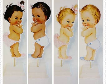 Baby Boy or Baby Girl Stand-Up Baby Shower Centerpieces--Party Baby Shower Decorations--Any Theme Any Color
