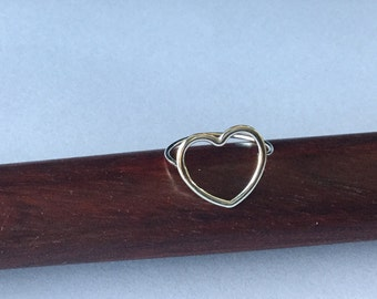 Sterling Silver Open Heart Ring- Love Ring Size 7