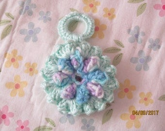 Crocheted Flower Key Chain - Free U.S. shipping