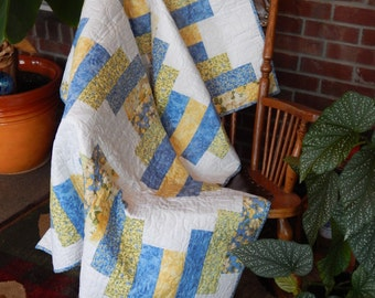 Blue and Yellow Contemporary Lap Quilt, Spring Afternoon on the Porch, Autumn Quilt