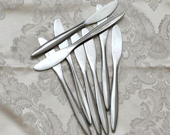 Atomic Stainless Steel Flatware Silverware Knives, Set 8