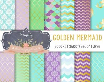 SALE Golden Mermaid Digital Paper, Aqua, Blue, Purple, Mermaids Pattern, Purple Mermaid Digital Papers