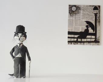 Charlie Chaplin figurine decoration animal head papier mache wine bottle recycled shelf decoration art décor