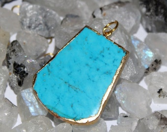 1 Pc Turquoise Pendant Connector with 24k Gold Electroplated Edges- Gold Plated Turquoise Pendant - Single Loop Pendant HL23