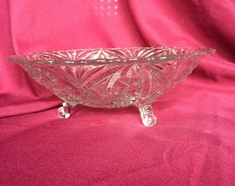 Clear Three Footed Glass Bowl With Star/Snowflake Pattern