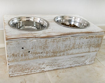White Rustic Dog Bowl Holder, Reclaimed Wood Dog Feeder, Raised Dog Feeder