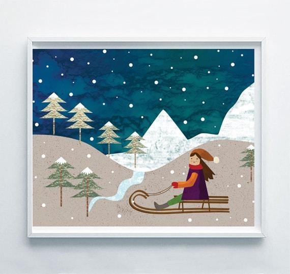 Winter schlitten druckbare digitale kunst für von sagaciousdesign