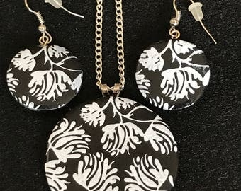 Black and White Polymer Clay Necklace and Earring Set