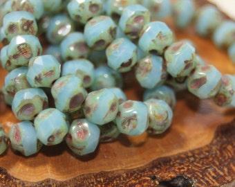 Czech Glass Beads, 8mm Central Cut, 15 Beads