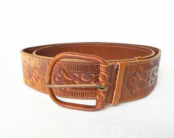 Leather BELT Vintage/ Brown Leather Belt/ Pressed Ornamental Pattern/ Vintage Style Accessory/ Latvia, 1974