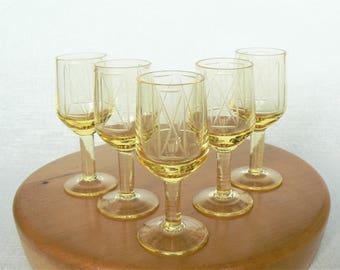 Liqueur GLASSES Vintage/ Set of 5 Yellow Liqueur Glasses on Leg/ Engraved Decor/ Vintage Drinks Serving/ Latvia 1970s
