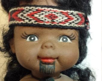 Vintage Maori doll w baby tatto on chin straw skirt charm necklace