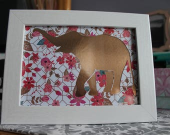 Gold Elephant Silhouette Floral 5x7 Framed Decor