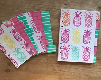 Pineapple - target one spot pineapple Personal size or A5 planner dividers / Planner accessories / target dollar spot planner accessories