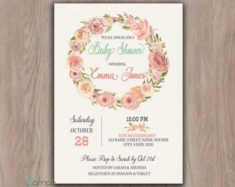 Boho Baby Shower Invitation, Baby Shower invitation girl, Floral Baby Shower invitation, bohemian baby shower invitation, printable flowers