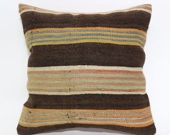 20x20 Naturel Kilim Pillow Throw Pillow 20x20 Striped Kilim Pillow Large Pillow Ethnic Pillow 20x20 Turkish Pillow Cushion Cover SP5050-1524