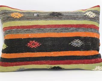 Striped Kilim Pillow Ethnic Pillow Home Decor Ethnic Pillow 16x24 Decorative Kilim Pillow Sofa Pillow Turkish Kilim Pillow  SP4060-457