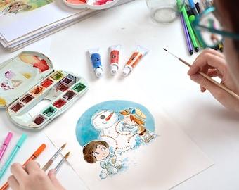 Print - Christmas with Star Wars / Snowman, Luke, Leia and BB8, fanart, wall art,  watercolor handpainted, digital illustration