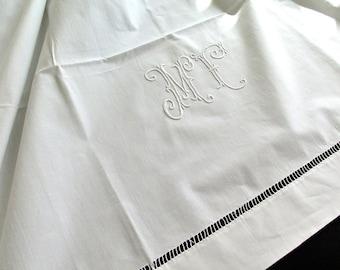 French linen sheet-  Brocante - Drap de Lin - Monogram MF