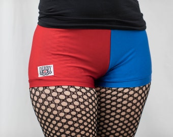 Derby Kiss new red and blue Harley Quinn Roller Derby shorts Regular and High Waisted
