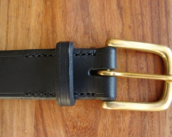 "Black leather belt, brass buckle - 1 1/4"" wide - made to size"