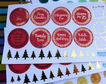 Round sticker kit , Christmas sticker, Gold Foil Sticker, Planner foil sticker, EC planner sticker, Christmas foil sticker, planner stickers
