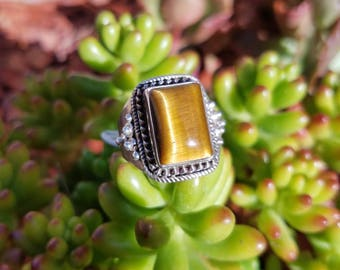 20% OFF NOW !Tigers Eye and Sterling Silver Ring Size 10