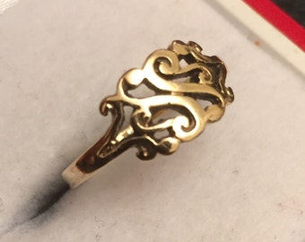 Vintage 9ct gold signet ring - hallmarked 1982