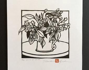 White on White, original limited editon hand-pulled woodcut print by Rhonda Lynch