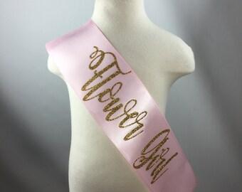 Little girl flower girl bridal sash for wedding/bridal shower