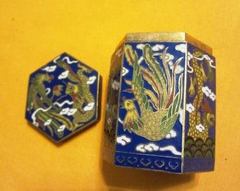 Cloisonne Enamel Trinket Box Vintage