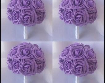 Purple Bouquet Bridesmaids Wedding Lavender Bridal