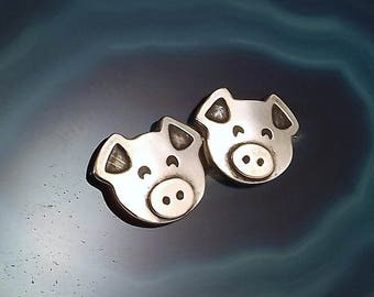 Pig Stud Earrings, Sterling Silver