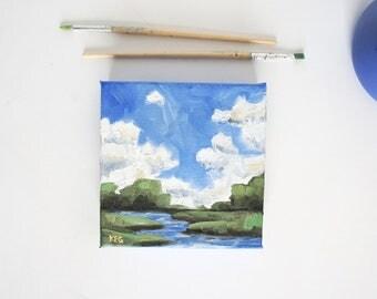 Oil Painting Seascape | Mini Oil Painting | Marsh Painting | Mini Canvas Art | Original Painting | Coastal Painting | Sea Painting | Coastal