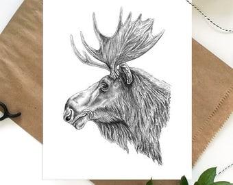 Moose Print, Woodland Nursery Art, Moose Decor, Woodland Animal, Moose Art, Woodland Nursery Decor, Moose Wall Art, Moose Nursery Wall Art