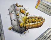 Truth VS Reality, a Copic markers original sketch