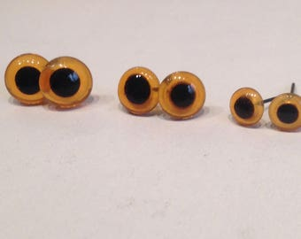 Glass eyes of Brown 12mm 10mm 8mm 6mm accessories for dolls, bears, amigurumi Pack 20 units (10 pairs)