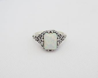 Vintage Sterling Silver Fire Opal Filigree Ring Size 5