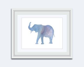 Elephant print - Blue Elephant print - Jungle Nursery - Jungle Wall Art - Nursery Decor - Nursery Wall Art - boys wall art - kids wall art