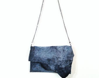 Rustic blue suede leather bag