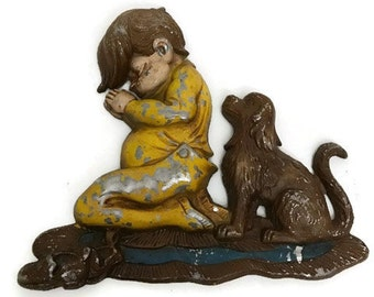 Cast Iron plaque Distress Vintage 1972 Plaque of a Little Boy Praying with a Dog