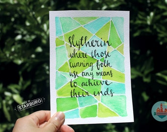 Watercolour Painting - Slytherin / Green, Geometric, Harry Potter + Sorting Hat Quote