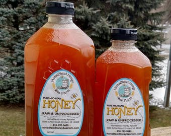 HomeStead Honey Bee Farm - Raw Unprocessed Pure Michigan Honey - 6 lbs
