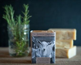 Rosemary & Patchouli Tea Soap - Goat Milk Soap, Organic Soap, Farmstead Soap, All Natural Soap, Handmade Soap, Cold Process Soap, Tea Soap